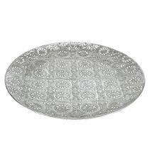 Dekorativ platta silver med prydnad Ø32cm