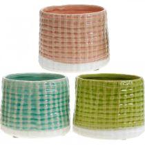 Dekorativa krukor med korgmönster, planter, keramisk planter mint / grön / rosa Ø13cm 3st
