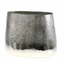 Dekorativ kruka oval silver 35 cm x 19 cm H29cm