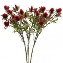 Thistle Artificial Flower Red Burgundy 10 Flower Heads 68cm 3st