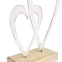 Dubbel hjärta vit på foten H18cm