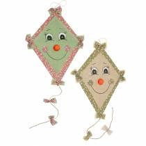 Höstdekorationsdrake för att hänga mintgrön gammal ros / naturlig olivgrön 40cm x 57cm 2st