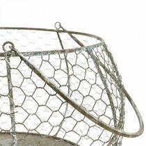 Trådkorg Shabby Chic trådkorg trädgårdsdekoration Ø37 / 26cm uppsättning 2