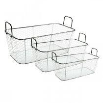 Wire basket, planter, planter L43.5 / 39.5 / 35cm, set of 3