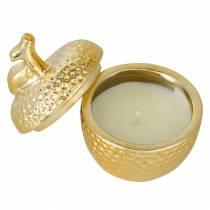 """Doftljus """"Spiced Apple"""" i äpple smyckeskrin guld Ø7.2cm H8.5cm"""
