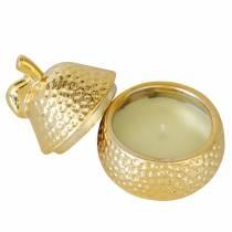 """Doftljus """"Magnolia & Pear Blossom"""" i en pärlsmyckeskrin guld Ø7.4cm H9cm"""