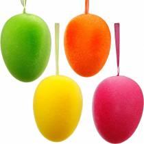 Påskägg för att hänga färgglada, flockade ägg, påsk, vårdekoration 8st