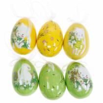 Dekorativt påskbukettägg för att hänga gult, grönt blandat H7cm 6st
