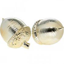 Dekorativ ekollonkeramik gyllene bordsdekoration Jul 13,5cm 2st