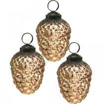 Acorn glas gyllene vintage deco kottar julgransdekorationer 5,5 × 8 cm 12st
