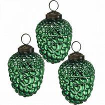 Acorn glas grön höst dekoration kottar julgransdekorationer 5,5 × 8cm 12st