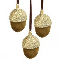 Ekollon att hänga, advent, träddekorationer, höstdekorationer H6,5cm Ø4cm 6st