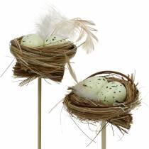 Dekorativ plugg fågelbo, påsk dekoration, bo med ägg 23cm 6st