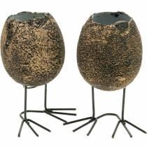 Äggskal för plantering med ben, påskägg, ägg med fågelfötter, påskdekoration svart gyllene 4st