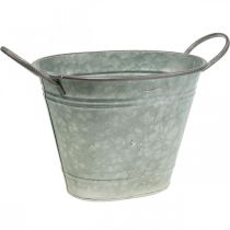 Planterkar, metallbehållare med handtag, dekorskål L32cm H24cm