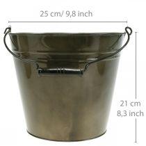 Metallhink, växtkruka, metallkärl Ø25cm H21cm
