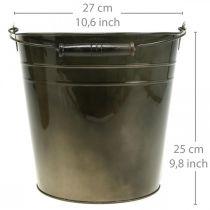 Metallkärl, växtskopa, metalldekoration Ø27cm H25cm