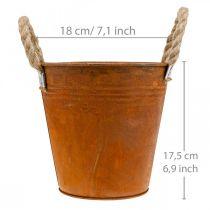 Växtkruka med patina, metallkärl, höstdekoration Ø18cm H17,5cm