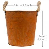 Planter med handtag, planteringsskål, metallkärl med rostdekoration Ø25cm H24cm