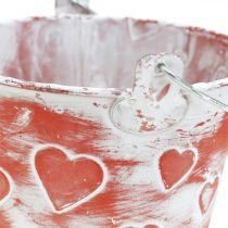 Dekorativ hinkdekor, metallkärl, Alla hjärtans dag, handtagshink Ø12cm