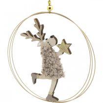 Ren att hänga, julhänget, adventsdekoration i ring Ø15cm, uppsättning med 3 st