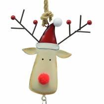 Julhänge älghuvud med klocka 11,5 cm röd, beige 3 st