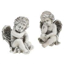 Dekorativ ängel i grått sittande 13,5 cm 2st