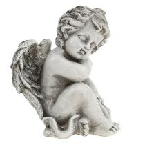Minnesfigur sovande ängelgrå 16cm 2st