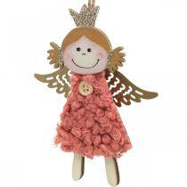 Änglar att hänga, julpynt, julgransdekorationer rosa / rosa / blå / vit H12cm uppsättning med 4 st