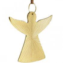 Dekorativ ängel, metallhänge, juldekoration gyllene 9 × 10cm 3st