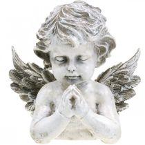 Be ängel, begravningsblomster, byst av ängelfigur, gravdekoration H19cm B19,5cm
