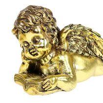 Ängel med bok liggande guld 11-13cm 4st