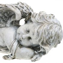 Grav dekoration ängelsov Grave ängelgrå polyresin 39 × 14x13cm
