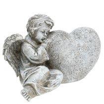 Ängel med hjärtgrå 11,5 cm × 9 cm × 6,5 cm 2 st