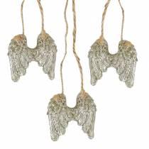 Ängelvingar att hänga i guldglitter 5cm × 5,2cm 12st
