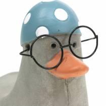 Dekorativ anka med glasögon och badmössa grå 10,5 cm 4st