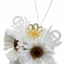 Dekorativ uggla med krona för att hänga vit, glitter 6,5 × 8 cm 6st.