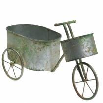 Blomkruka cykel zinkgrå, grön 40 × 14 × 21cm
