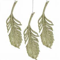 Dekorativa fjädrar, trädekorationer med glitter, adventsdekorationer, fjädrar för att hänga gyllene L22cm 12st