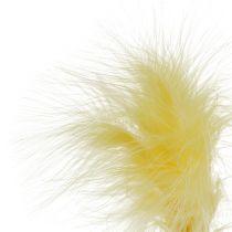 Fjäder på staven L 30 cm gul 12st