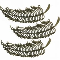 Dekorativa fjädrar, smyckenhängen, fjädrar av metall, spridda bronsfärger L8cm 10st