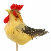 Tupp med riktiga fjädrar på pinnen Orange, gul, brun blandad H5-6cm 12st