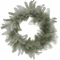 Påskdekoration vårkransgrå Ø18cm Äkta fjädrar