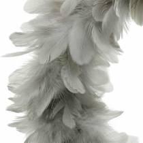 Påskdekoration vårkrans stor ljusgrå Ø40cm vårdekoration äkta fjädrar