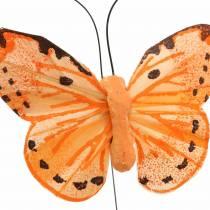 Fjärilsgul orange på tråd 7 cm tråd 24 st