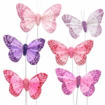 Fjärilsfjäril på trådrosa, lila 7cm 24st