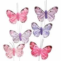 Fjäderfjäril metalltråd rosa, lila 7cm 12 st