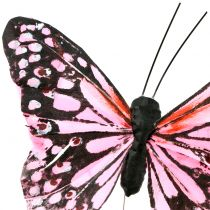 Fjäril på trådrosa 11cm 12st
