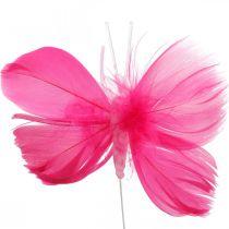 Fjäderfjärilar rosa / rosa / röda, dekorativa fjärilar på tråd 6st