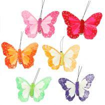 Fjäderfjärilar på klämma mångfärgade 7cm 12st